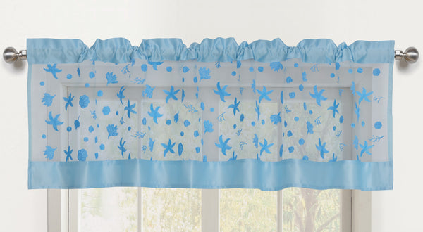 Beaches Sheer Rod Pocket Valance - 056x016   Light Blue- Marburn Curtains