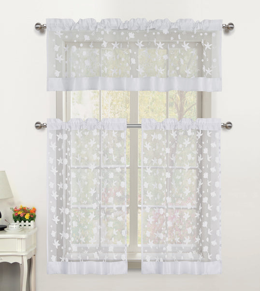 Beaches Sheer Rod Pocket Tiers - 054x024   White- Marburn Curtains