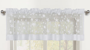 Beaches Sheer Rod Pocket Valance - 056x016   White- Marburn Curtains