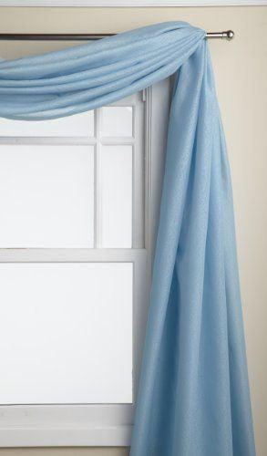 Reverie Rod Pocket Semi-Sheer Snow Voile Panel Collection - Scarf  060x216 Blue C33476- Marburn Curtains