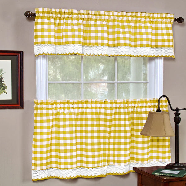 Buffalo Check Rod Pocket Valance - Yellow_White 058x014 C42214- Marburn Curtains