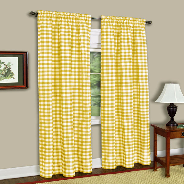 Buffalo Check Rod Pocket Panel Yellow - - Marburn Curtains