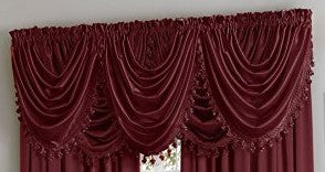 Hilton Rod Pocket Panel/Waterfall Valance - Waterfall Valance Burgundy 055x037 C27959- Marburn Curtains