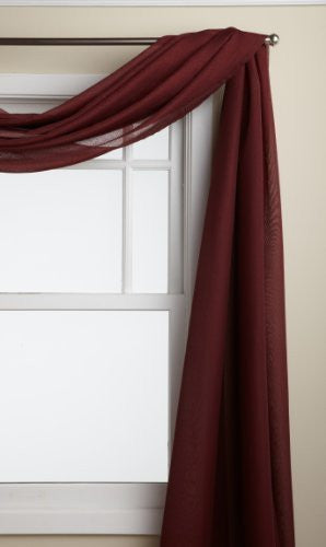 Reverie Rod Pocket Semi-Sheer Snow Voile Panel Collection - Scarf  060x216 Burgundy C33477- Marburn Curtains