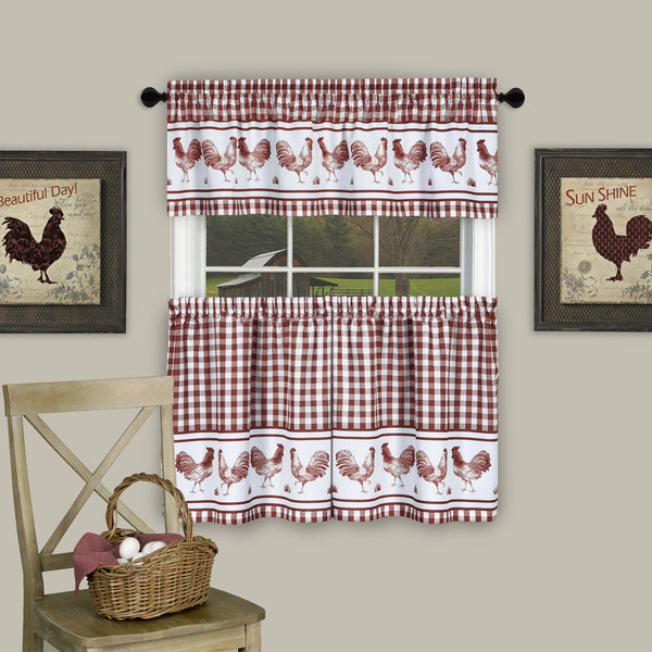 Barnyard Rod Pocket Tier&Valance Set - Tier/Valance Set/Burgundy/058x024 C40738- Marburn Curtains