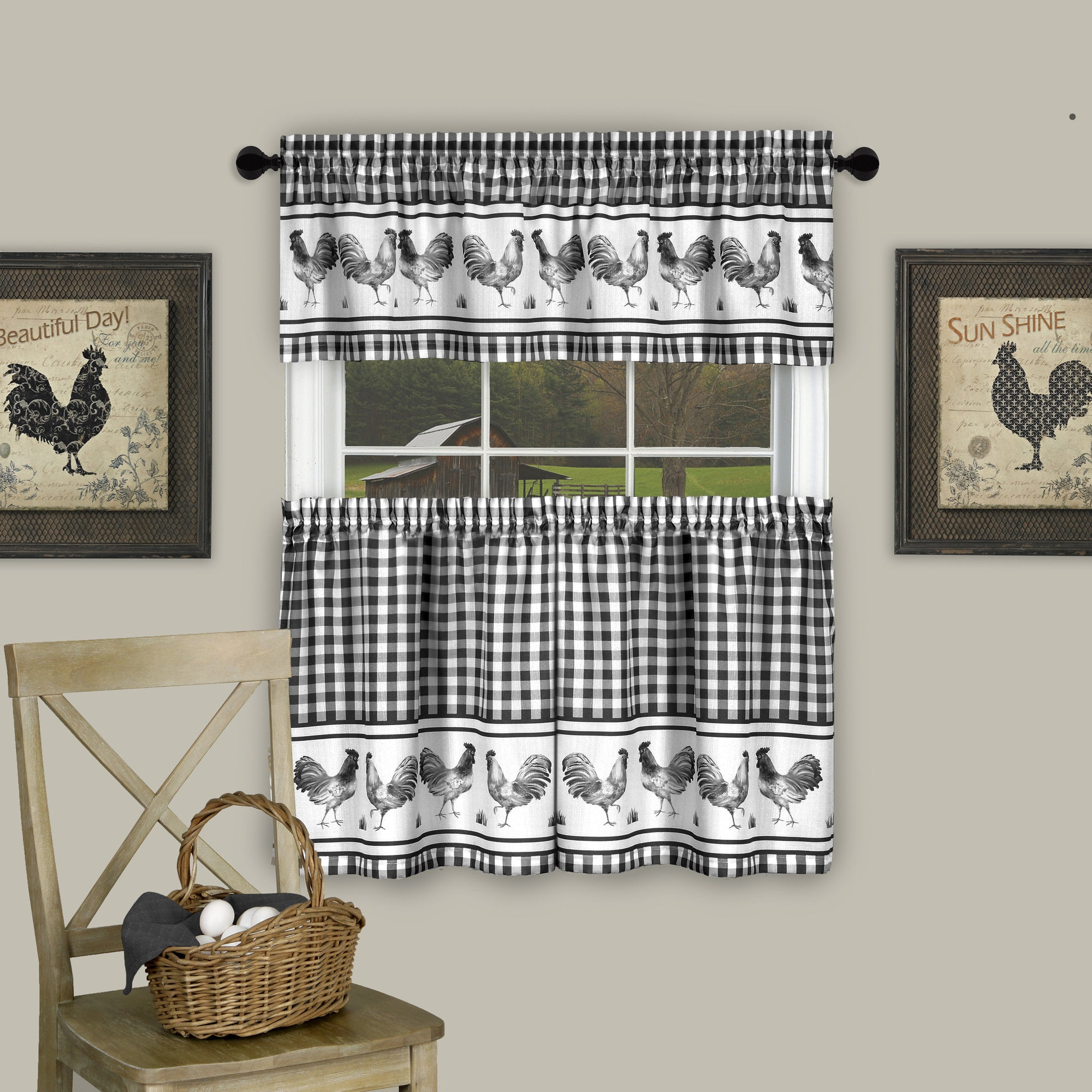Barnyard Rod Pocket Tier&Valance Set - Tier/Valance Set/Black/058x024 C40735- Marburn Curtains