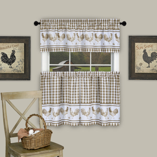 Barnyard Rod Pocket Tier&Valance Set - Tier/Valance Set/Taupe/058x024 C40741- Marburn Curtains