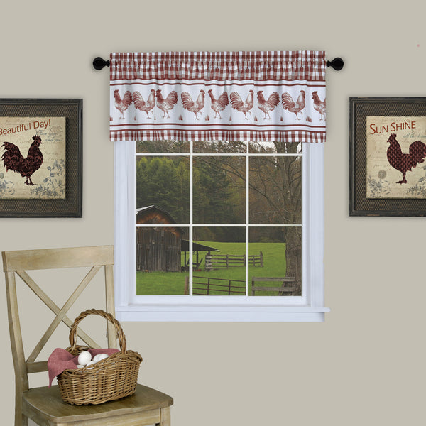 Barnyard Print Rod Pocket Valance - Valance Burgundy 058x014 C40740- Marburn Curtains