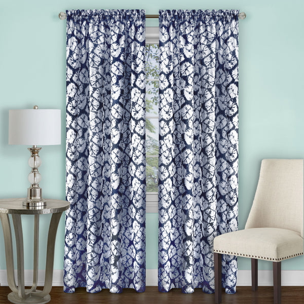 Batik Rod Pocket Panel - Panel  Navy 052x063 C39334- Marburn Curtains