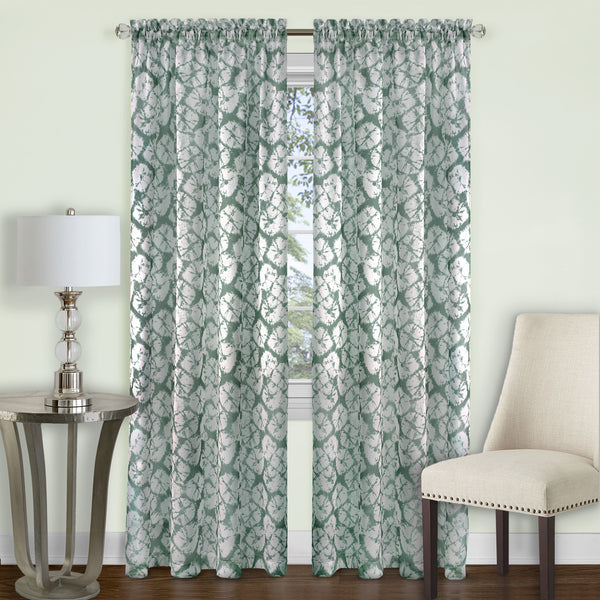 Batik Rod Pocket Panel - Panel  Sage 052x084 C39340- Marburn Curtains