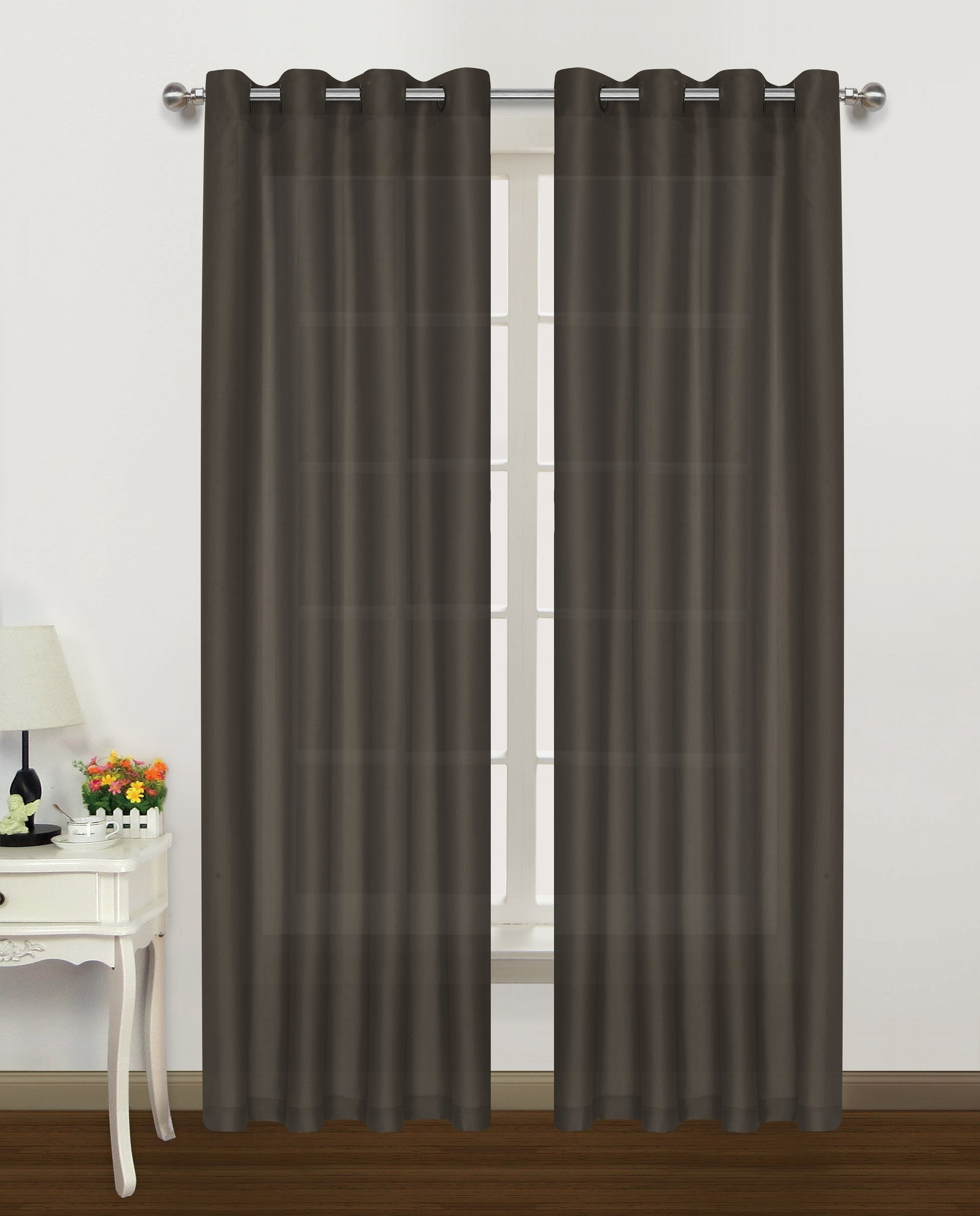 "Belair Grommet Panel 84"" - 050x084   Chocolate  C42909- Marburn Curtains"