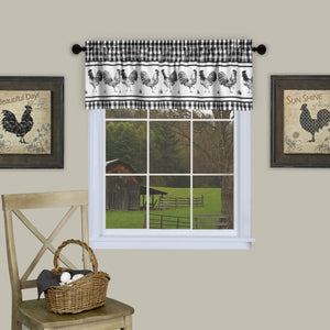 Barnyard Print Rod Pocket Valance - Valance Black 058x014 C40737- Marburn Curtains