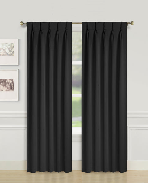 Blackwell Pinch Pleat Blackout Panel - 027x063 Black C43592- Marburn Curtains
