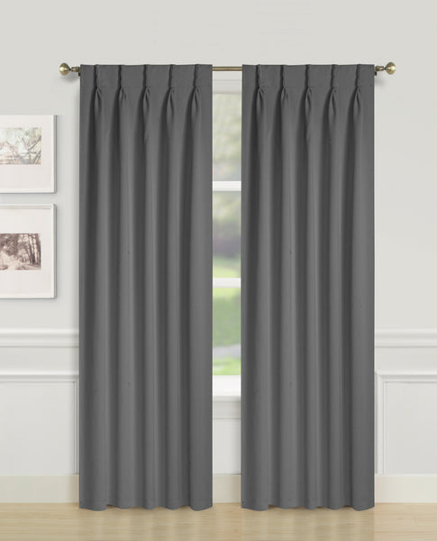 Blackwell Pinch Pleat Blackout Panel - 027x063 Grey C43595- Marburn Curtains