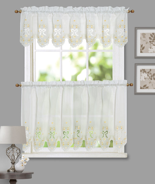 Blossoms & Bows Embroidered Tier - - Marburn Curtains