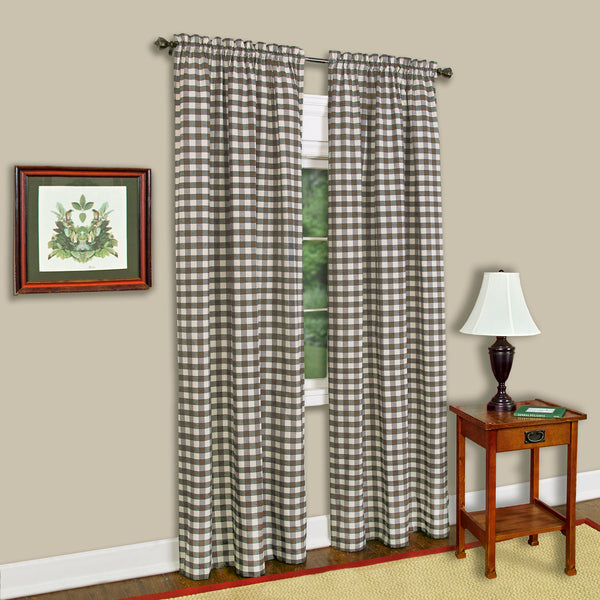 Buffalo Check Rod Pocket Panel - Panel  Taupe 042x084 C35992- Marburn Curtains