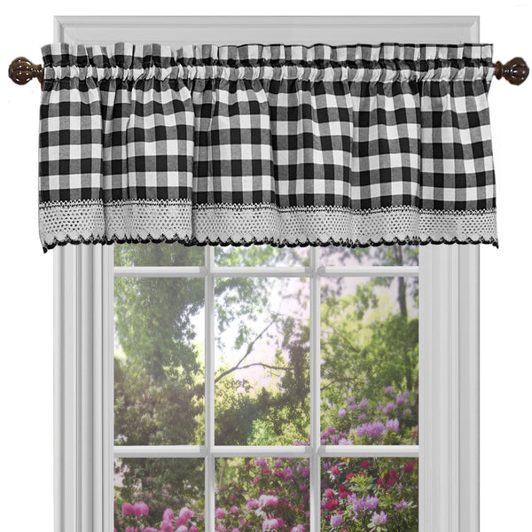 Buffalo Check Rod Pocket Valance - Valance  Black_White 058x014 C34872- Marburn Curtains