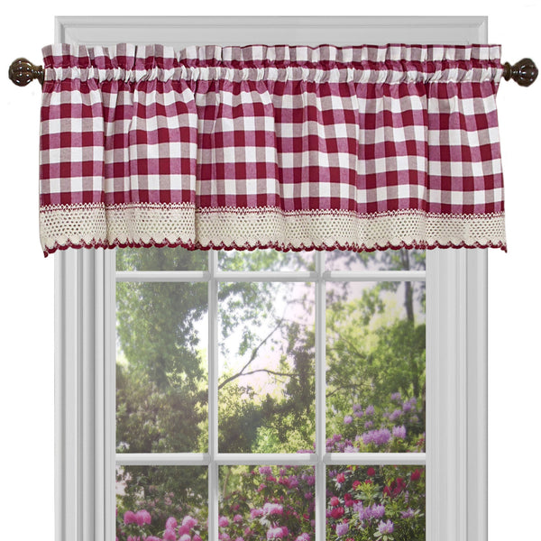 Buffalo Check Rod Pocket Valance - Valance  Burgundy 058x014 C23254- Marburn Curtains