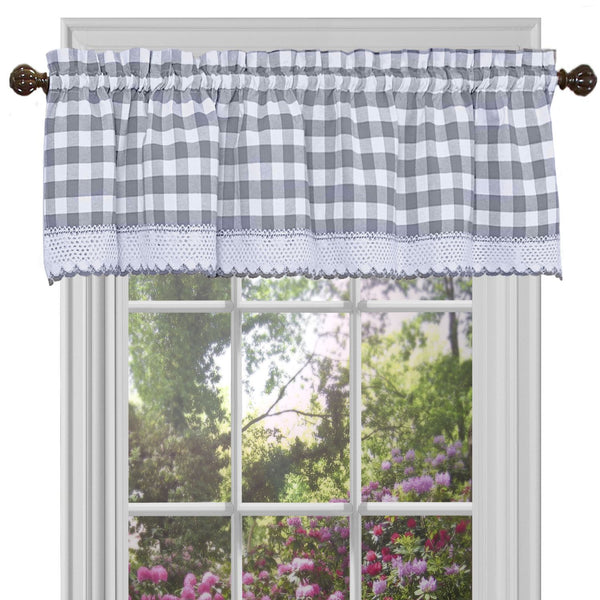 Buffalo Check Rod Pocket Valance - Valance  Grey 058x014 C37601- Marburn Curtains