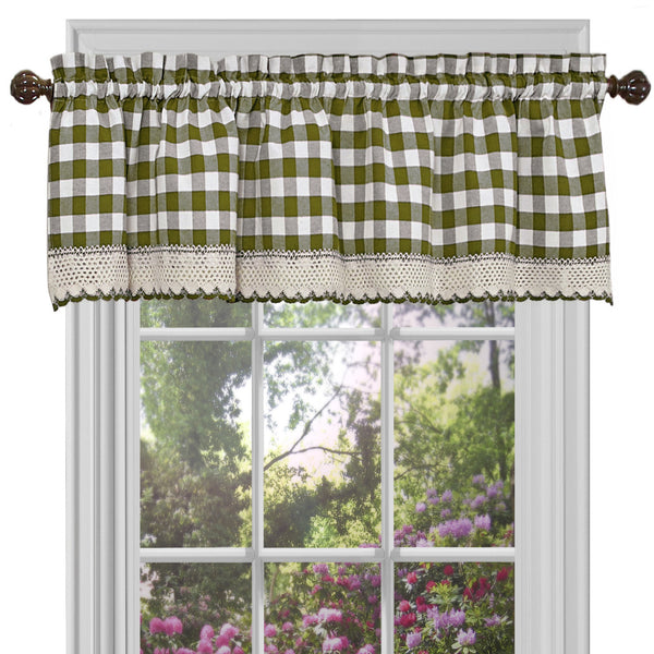 Buffalo Check Rod Pocket Valance - Valance  Sage 058x014 C23255- Marburn Curtains