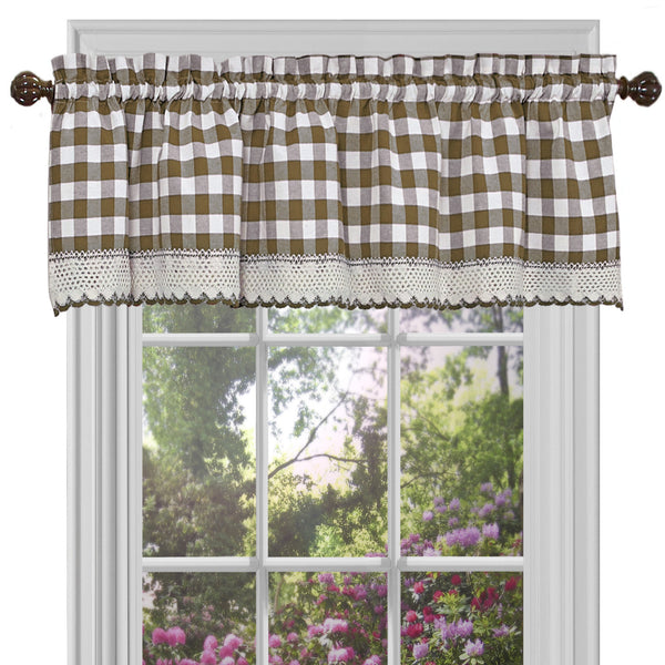 Buffalo Check Rod Pocket Valance - Valance  Taupe 058x014 C23256- Marburn Curtains