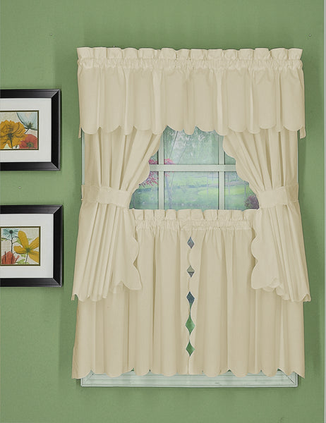 Orleans Rod Pocket Tier / Swag / Valance - Tier   060x030 Ecru C31957- Marburn Curtains