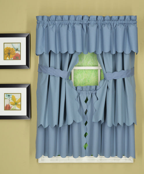 Orleans Rod Pocket Tier / Swag / Valance - Tier   060x030 Blue C31954- Marburn Curtains