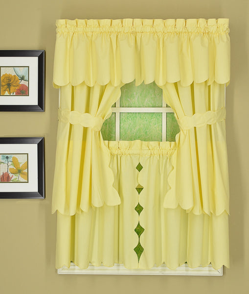 Orleans Rod Pocket Tier / Swag / Valance - Tier   060x030 Buttercup C31956- Marburn Curtains