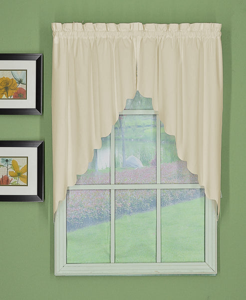 Orleans Rod Pocket Tier / Swag / Valance - Swag 060x038 Ecru C31982- Marburn Curtains