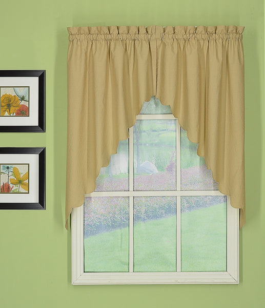 Orleans Rod Pocket Tier / Swag / Valance - Swag 060x038 Linen C31983- Marburn Curtains