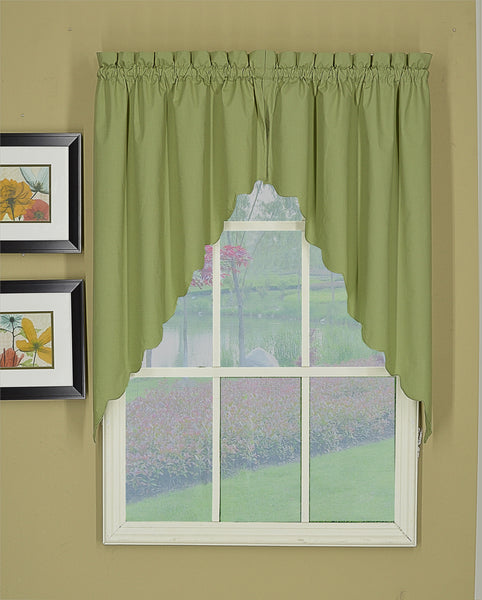 Orleans Rod Pocket Tier / Swag / Valance - Swag 060x038 Sage C31984- Marburn Curtains