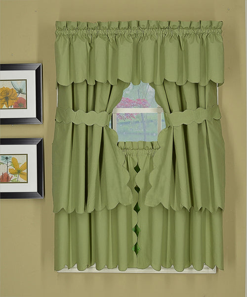 Orleans Rod Pocket Tier / Swag / Valance - Tier   060x030 Sage C31959- Marburn Curtains