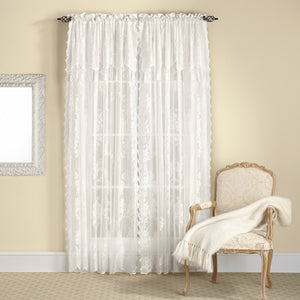 Carly Lace Rod Pocket Panel w/attached Valance - Panel  056x063 Ecru C33174- Marburn Curtains