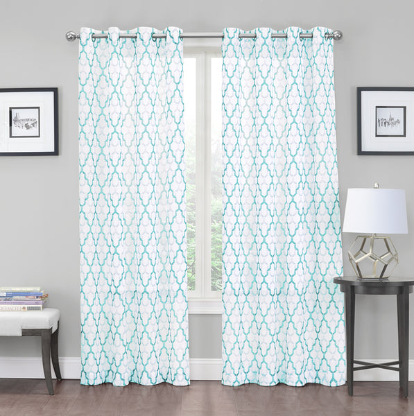 "Charlton Crushed Voile Semi-Sheer Grommet Panel 84"" - Aqua C42279- Marburn Curtains"