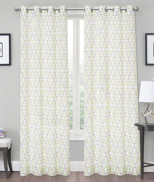 "Charlton Crushed Voile Semi-Sheer Grommet Panel 84"" - Lime C42281- Marburn Curtains"