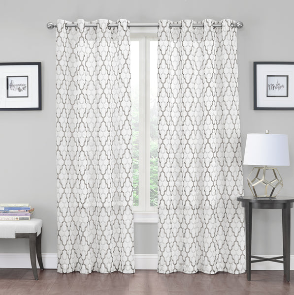 "Charlton Crushed Voile Semi-Sheer Grommet Panel 84"" - Neutral C42282- Marburn Curtains"