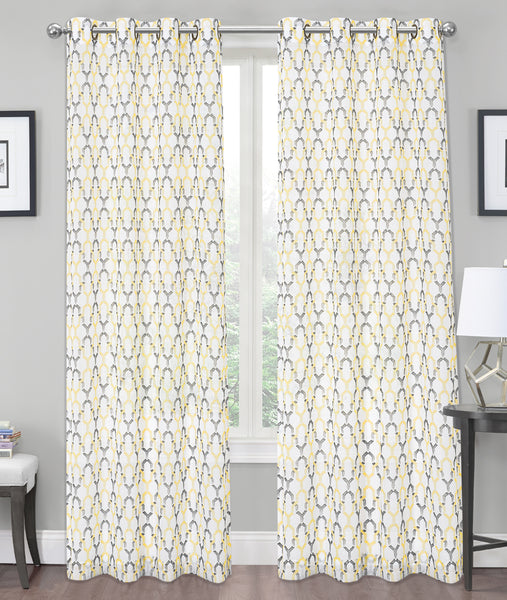 "Charlton Crushed Voile Semi-Sheer Grommet Panel 84"" - Yellow C42284- Marburn Curtains"