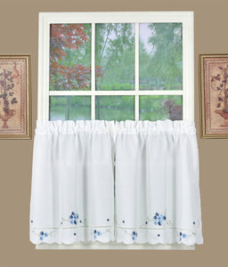 Christine Rod Pocket Tier - Tier 058x024 White Blue C37634- Marburn Curtains