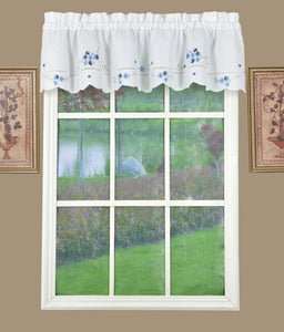 Christine Rod Pocket Valance - Valance 058x012 White Blue C37632- Marburn Curtains