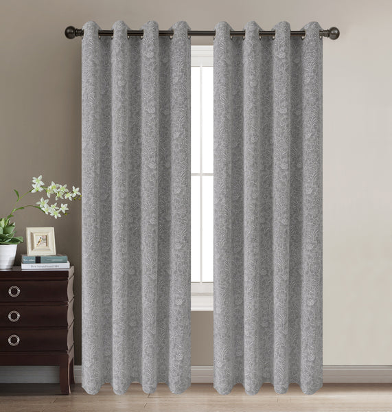 "Daisies Semi-Sheer Grommet Panel 84"" - Grey C42070- Marburn Curtains"