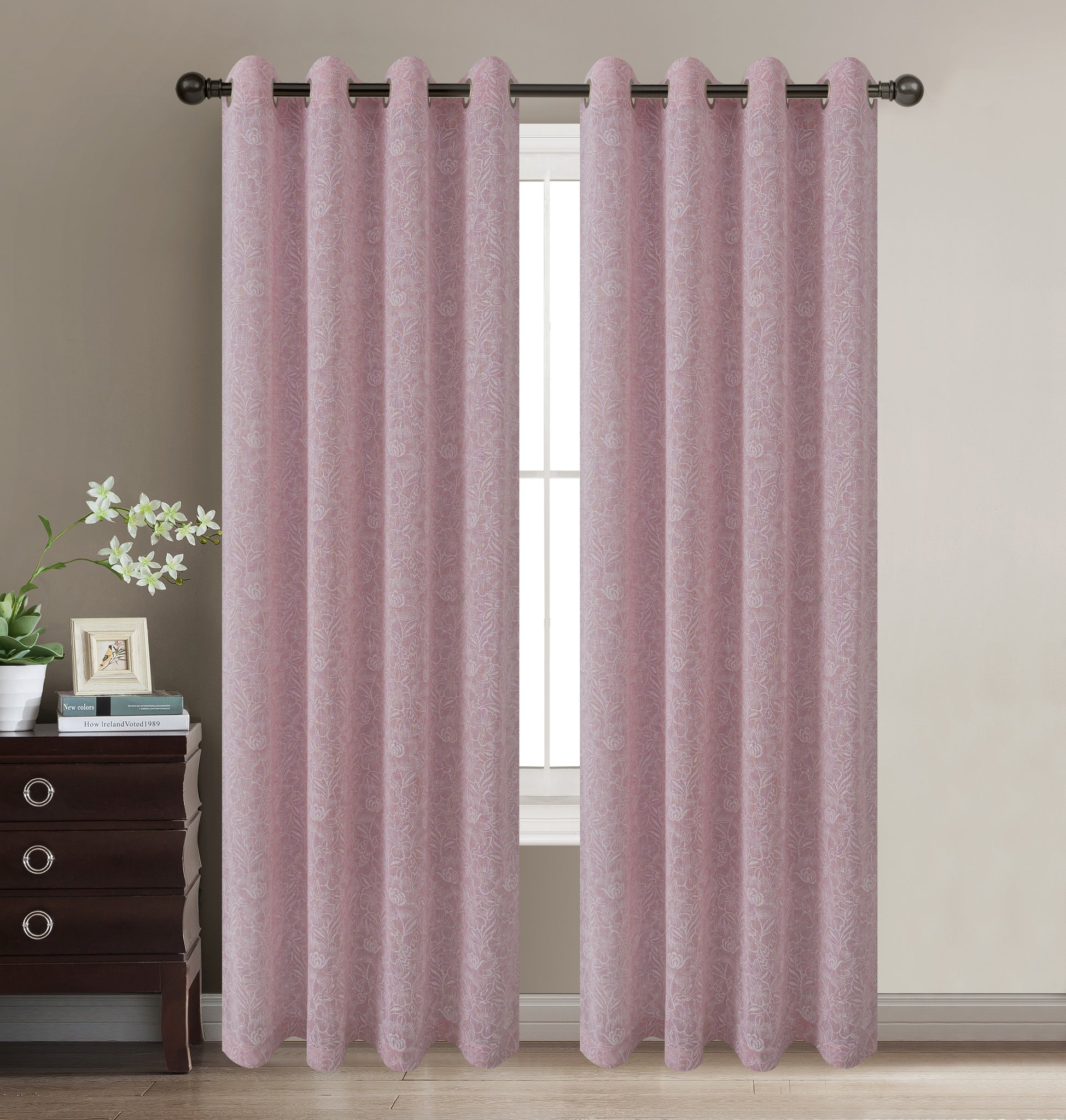 "Daisies Semi-Sheer Grommet Panel 84"" - Pink C42068- Marburn Curtains"
