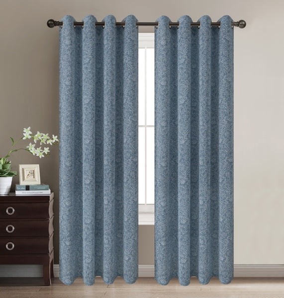 "Daisies Semi-Sheer Grommet Panel 84"" - Smoke Blue C42071- Marburn Curtains"