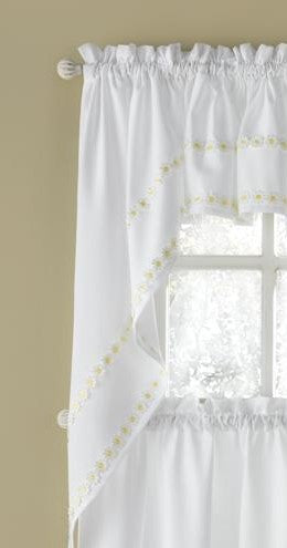 Daisy Mae Embroidered Swag - 054x038   Yellow  C42254- Marburn Curtains