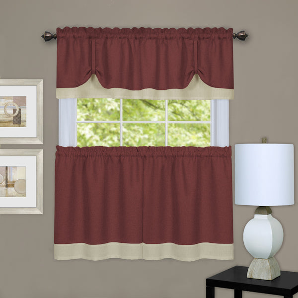 Darcy Rod Pocket Tier & Valance Set - Tier/Valance Set/Marsala/Tan/058x024 C39343- Marburn Curtains