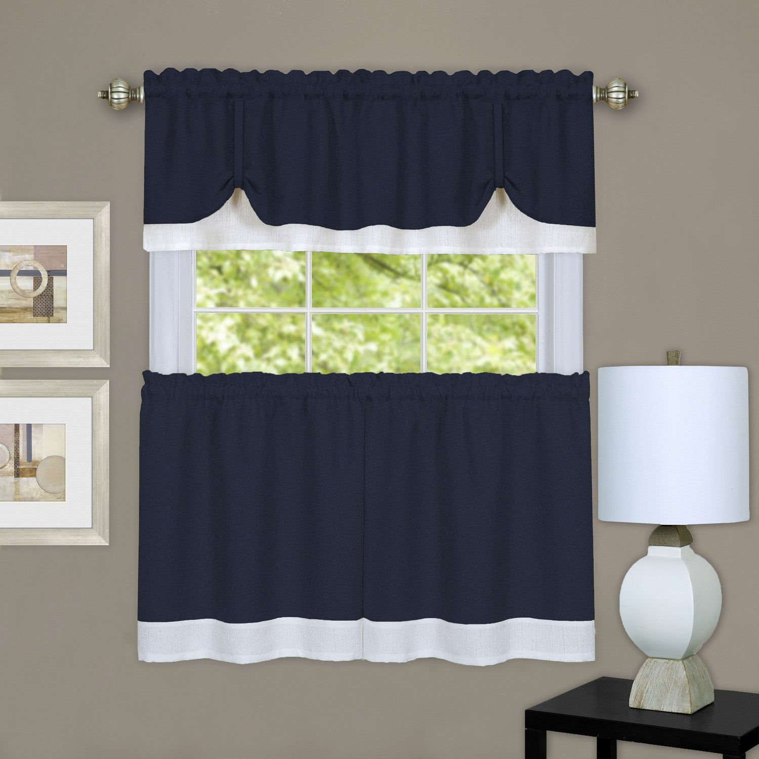 Darcy Rod Pocket Tier&Valance Set Layered Tie up Valance