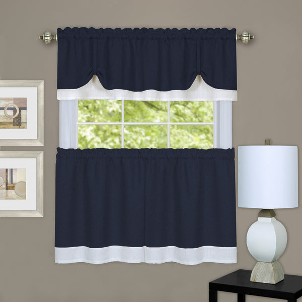 Darcy Rod Pocket Tier & Valance Set - Tier/Valance Set/Navy/White/058x024 C39344- Marburn Curtains
