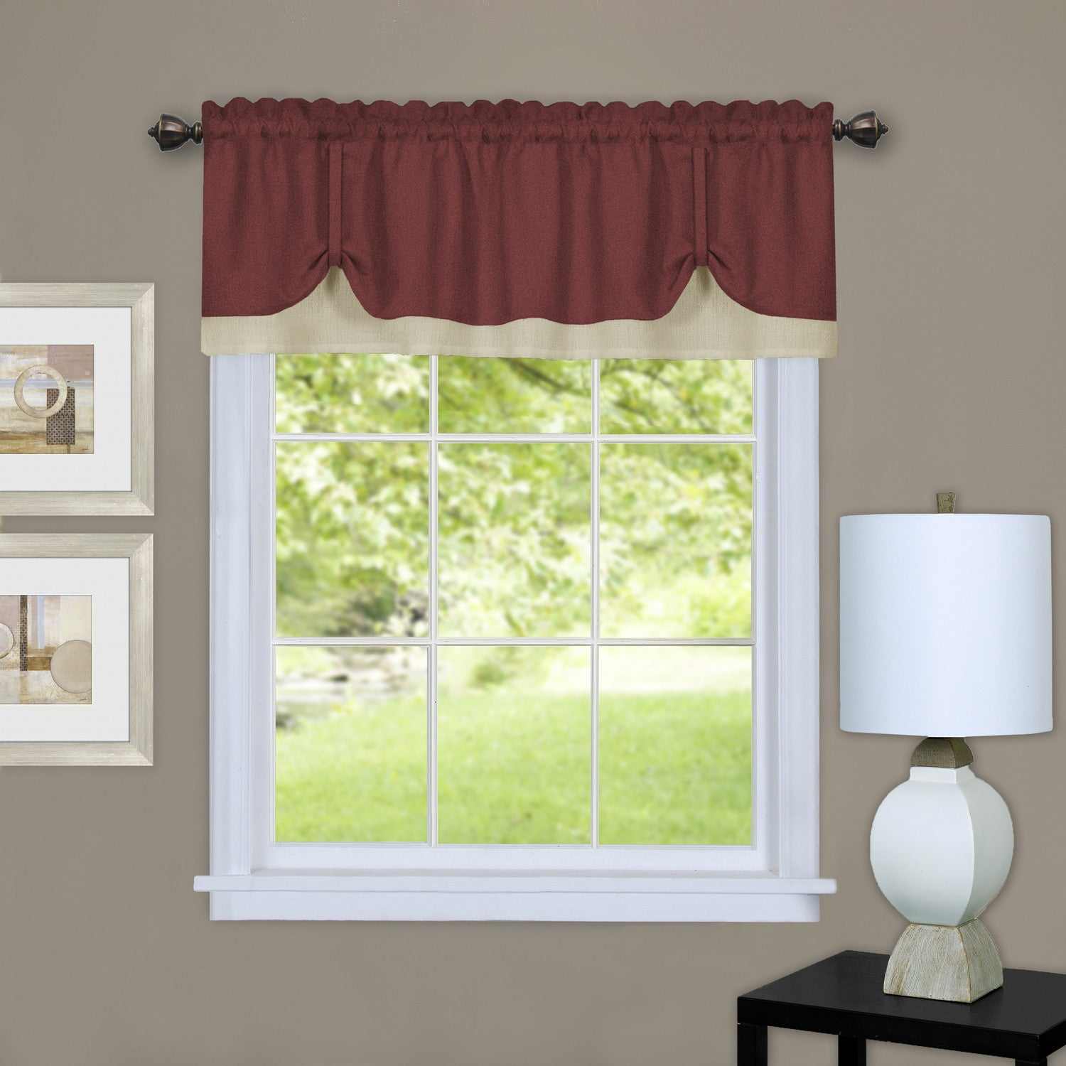 window piece gemini beige united all valance curtain set view curtains five