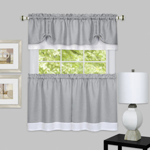 Darcy Rod Pocket Tier & Valance Set - Tier/Valance Set/Grey/White/058x024 C39342- Marburn Curtains