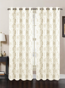 "Dynasty Lined Embroidered Grommet Panel 84"" - Beige/Copper C41937- Marburn Curtains"