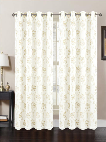 "Dynasty Lined Embroidered Grommet Panel 84"" - White/Gold C41938- Marburn Curtains"